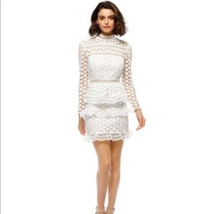 Self Portrait High Neck Star Lace White Dress